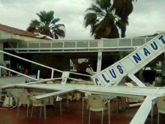 Imágenes del estado en que han quedado las instalaciones de Club Náutico de El Rompido.