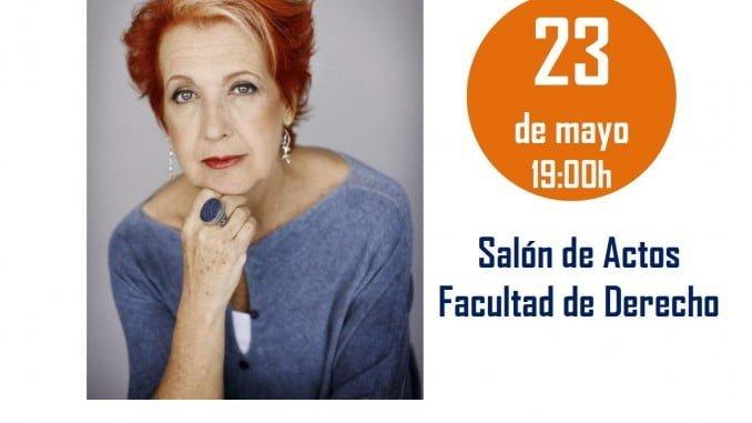 Cartel anunciador de la conferencia que el día 23 dará Rosa María Calaf en la sede de Madre Coraje