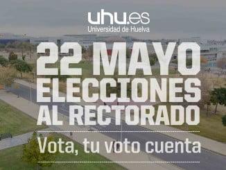 Cartel anunciador de las elecciones a rector de la UHU