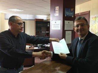 Francisco Ruiz presentando su candidatura a rector de la Universidad de Huelva