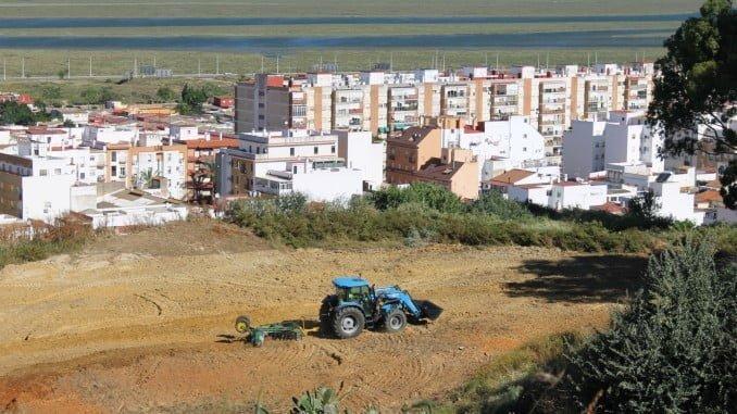 Un tractor con apero limpiando pastos en el Conquero