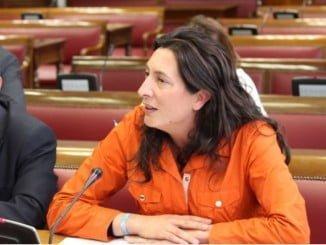 La senadora del PP por Huelva durante su intervención en el Senado