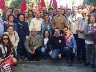 Los socialistas participan en la manifestación en la capital con motivo del 1 de mayo