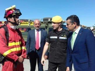 Sanz ha asistido al acto de presentación de capacidades y medios de la Unidad Militar de Emergencias (UME), en Morón de la Frontera