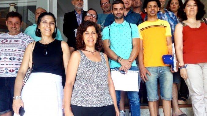 Alumnos del curso de electricidad que han organizado Cáritas Huelva y Endesa.