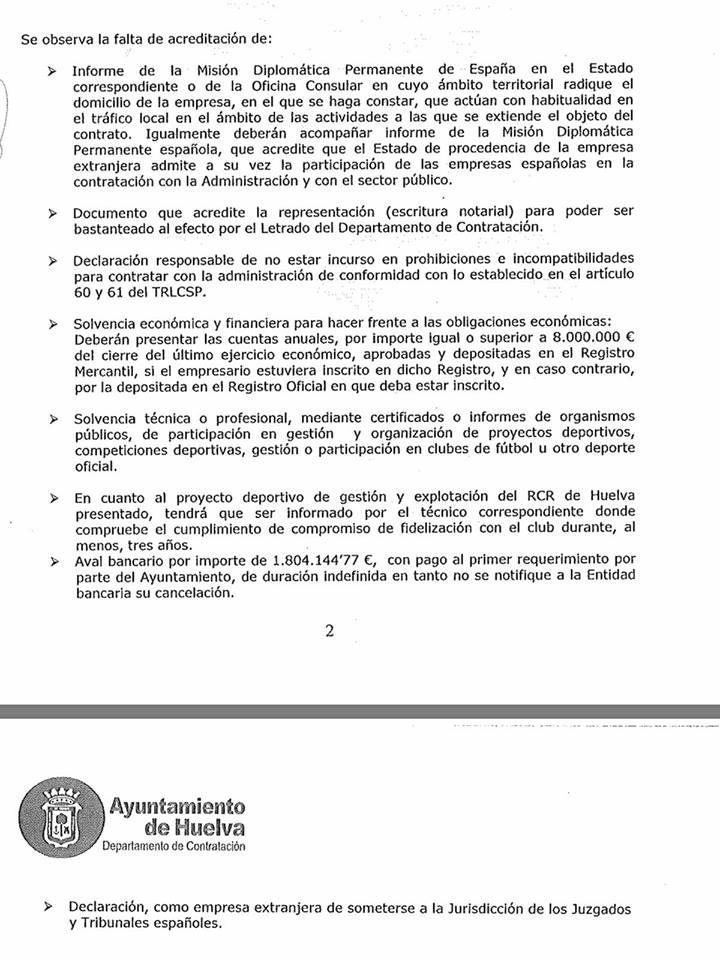 Documento que se ha filtrado el informe de los técnicos municipales a la Mesa de Contratación y que se verá este martes si es verdad o no