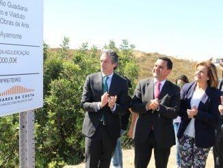 Íñigo de la Serna junto al ministro de Planeamento e das Infraestruturas de Portugal y Fátima Báñez