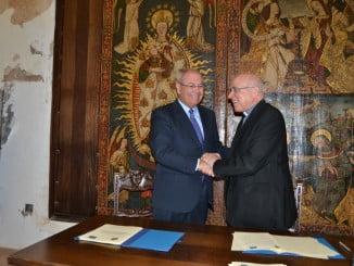El obispo de Huelva y el director de la Fundación Atlantic Copper