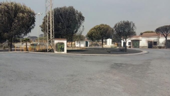 Imagen de la EDAR de Mazagón tras el incendio de Moguer de este verano