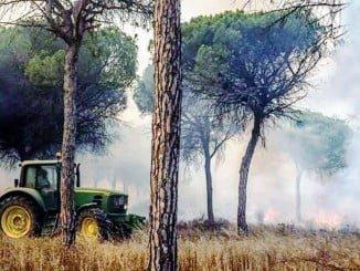 Un agricultor colaborando en las labores de extinción del incendio
