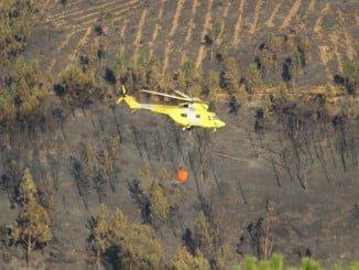 Dos helicópteros de transporte han participado en la extinción del incendio en El Cerro