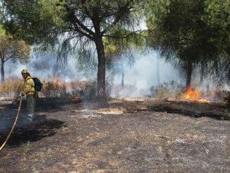 Imagen de un incendio en el término municipal de Aljaraque