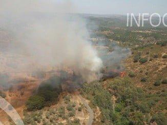 Imagen captada por el Infoca del incendio en Calañas