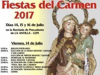 Cartel de las fiestas del Carmen en la Barriada de los Pescadores de La Antilla.