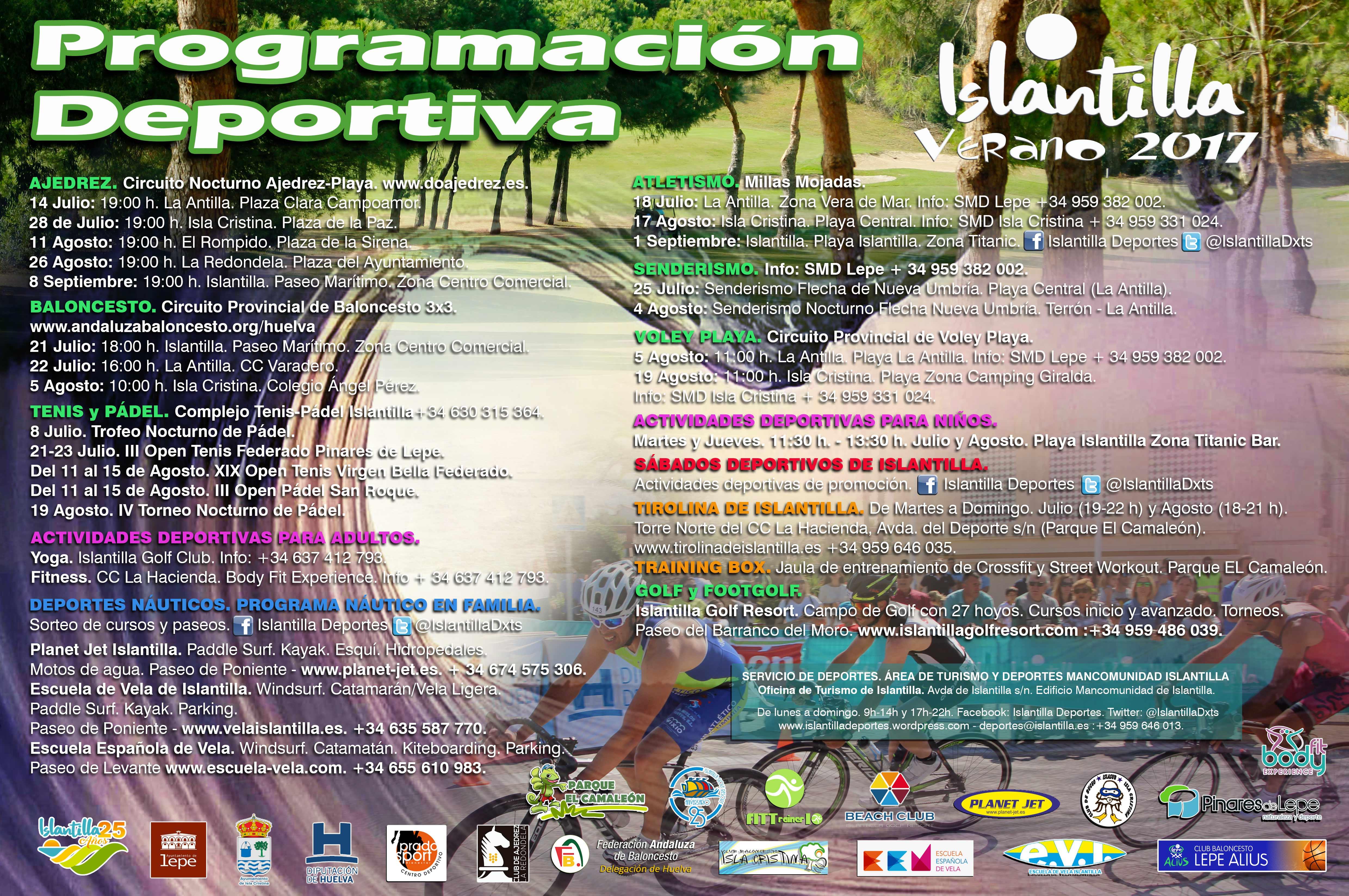 Cartel de la programación deportiva de Islantilla para este verano