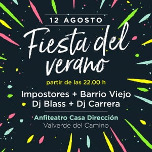 Cartel anunciador de las actuaciones de las Fiestas de Verano 2017 en Valverde