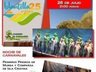 Cartel anunciador de la programación del Auditorio del Parque El Camaleón, en Islantilla
