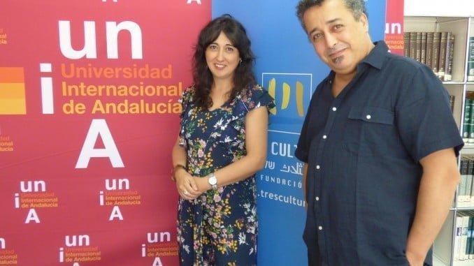 Virginia Luque y Nouman Aoraghe en un taller sobre gestión cultural