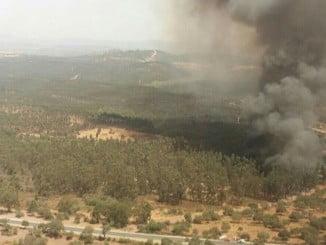 Vista aérea del incendio de Zalamea