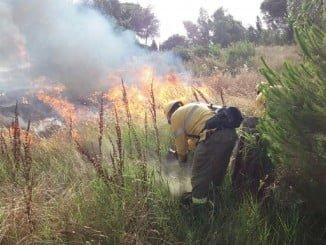 Bomberos sofoncando un incendio en Cartaya