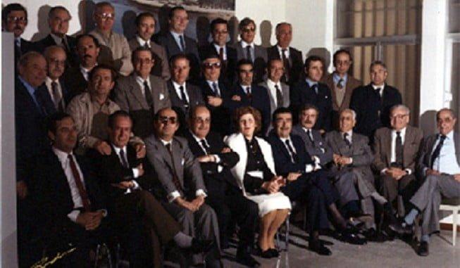 Abelardo Arcos, en una foto de familia entre los fundadores de la FOE