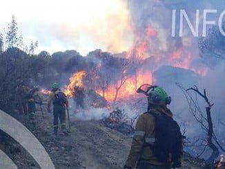 Bomberos del Infoca tratan de sofocar las llamas del incendio de Riotinto