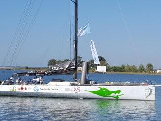 Imagen del VO70 volvo Green Dragón que patrocinado por el Puerto de Huelva participará en la regata Huelva La Gomera.
