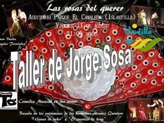 Cartel anunciador de la noche de teatro en el Nuevo auditorio al aire libre de Islantilla