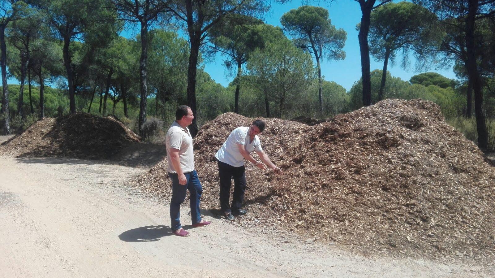 David Toscano y Pedro Yórquez en la zona donde se almacenan las astillas