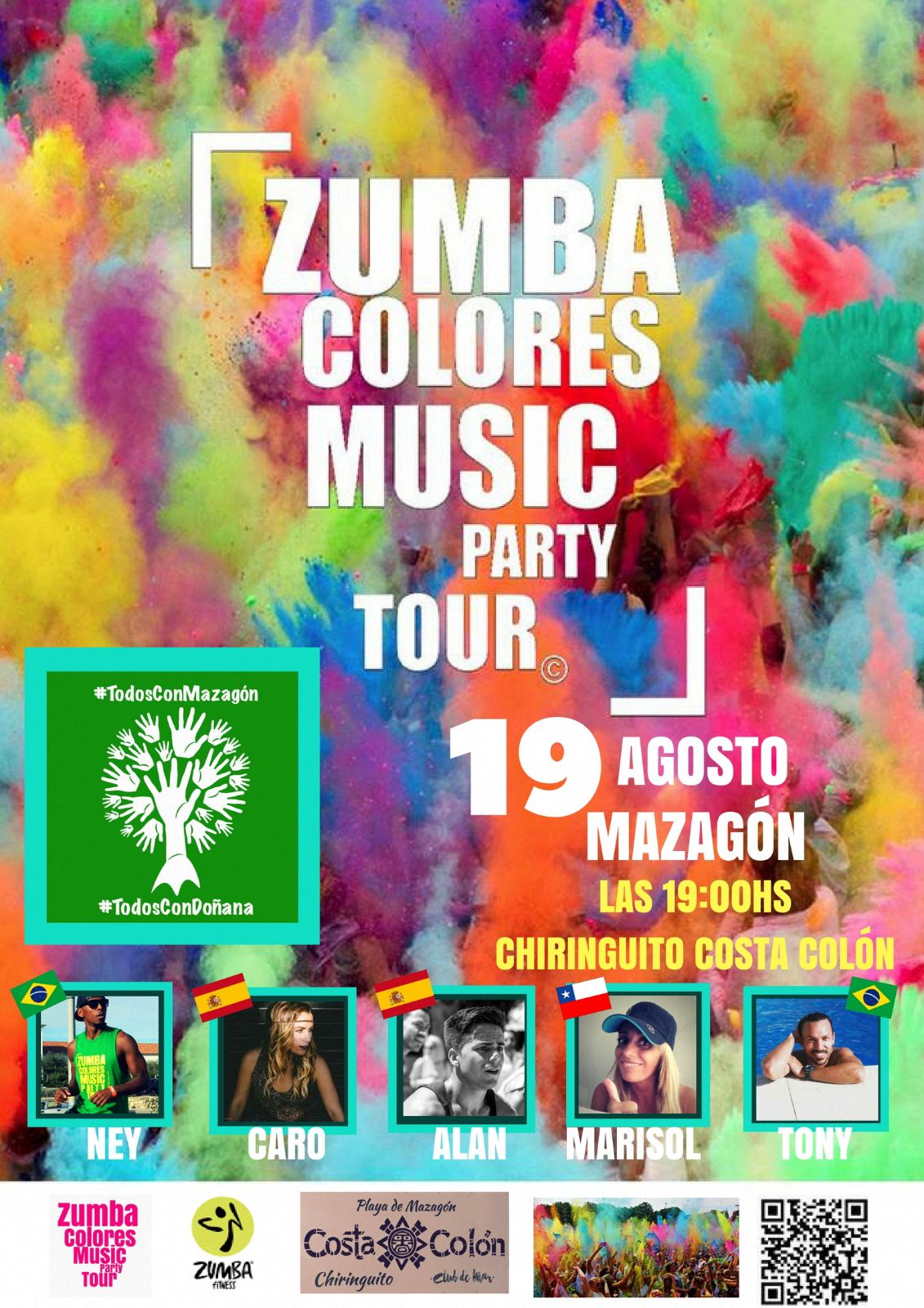 Cartel anunciador del I Zumba Colores Music Party Tour