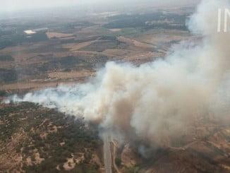 Imagen aérea del incendio de Lucena del Puerto facilitada por el Infoca