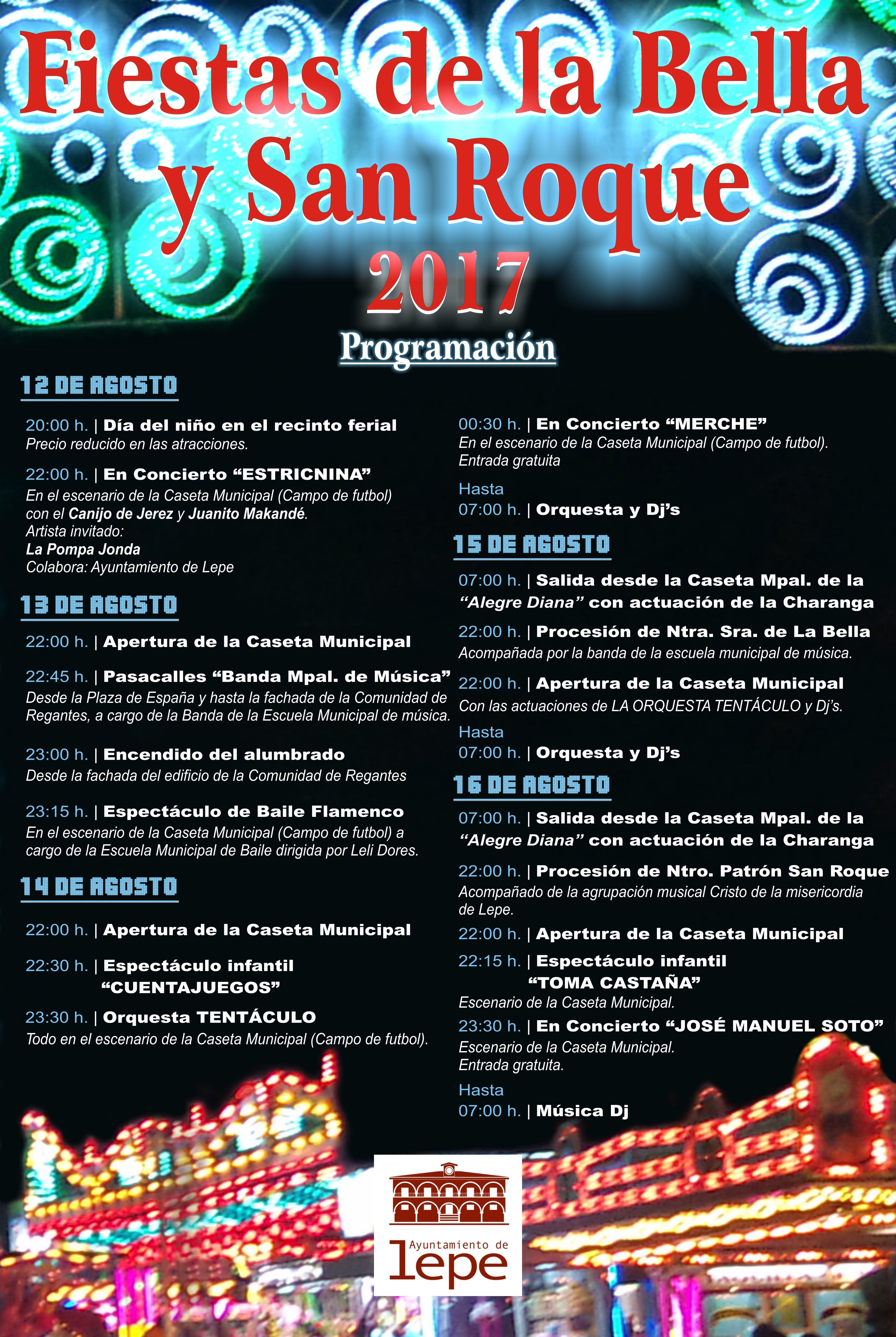 Programación de las Fiestas de la Bella, en Lepe