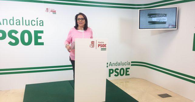 La diputada socialista Pepa González Bayo en la sede del PSOE