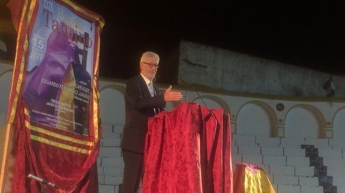 Eduardo Fernández Jurado durante el pregón taurino en Valverde