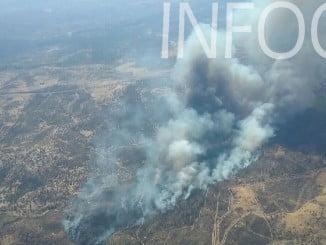 Vista aérea del incendio de Santa Olalla del Cala, facilitada por el Infoca