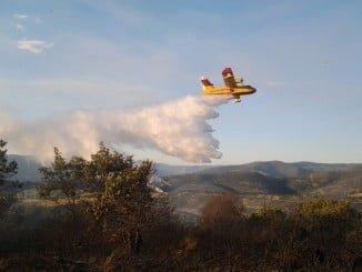 Uno de los aviones del Mapama que han participado en la extinción del incendio de Cartaya