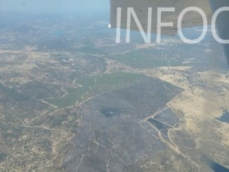 Vista aérea del incendio de Santa Olalla del Cala, ya controlado