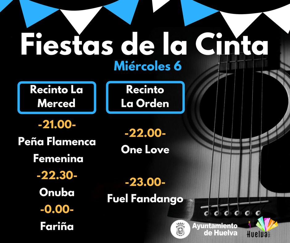 cartel anunciador de las actuaciones de las Fiestas de La Cinta