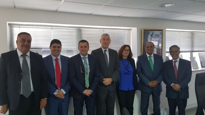 La delegación onubense junto a la directora General de la Agencia Nacional de Puertos de Marruecos, Nadia Laraki