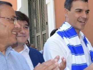 Ignacio Caraballo junto a Pedro Sánchez en Huelva
