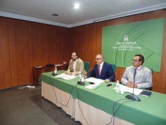 El delegado de Salud junto a los directores de los hospitales Juan Ramón Jiménez e Infanta Elena