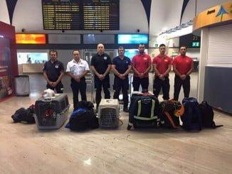 El grupo de bomberos que ha partido ya hacia México