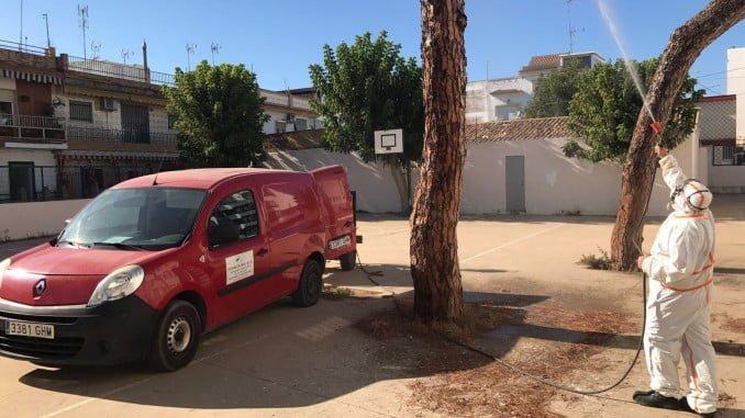 Fumigación en un centro escolar de Punta Umbría