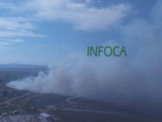 Vista aérea del incendio de Ayamonte