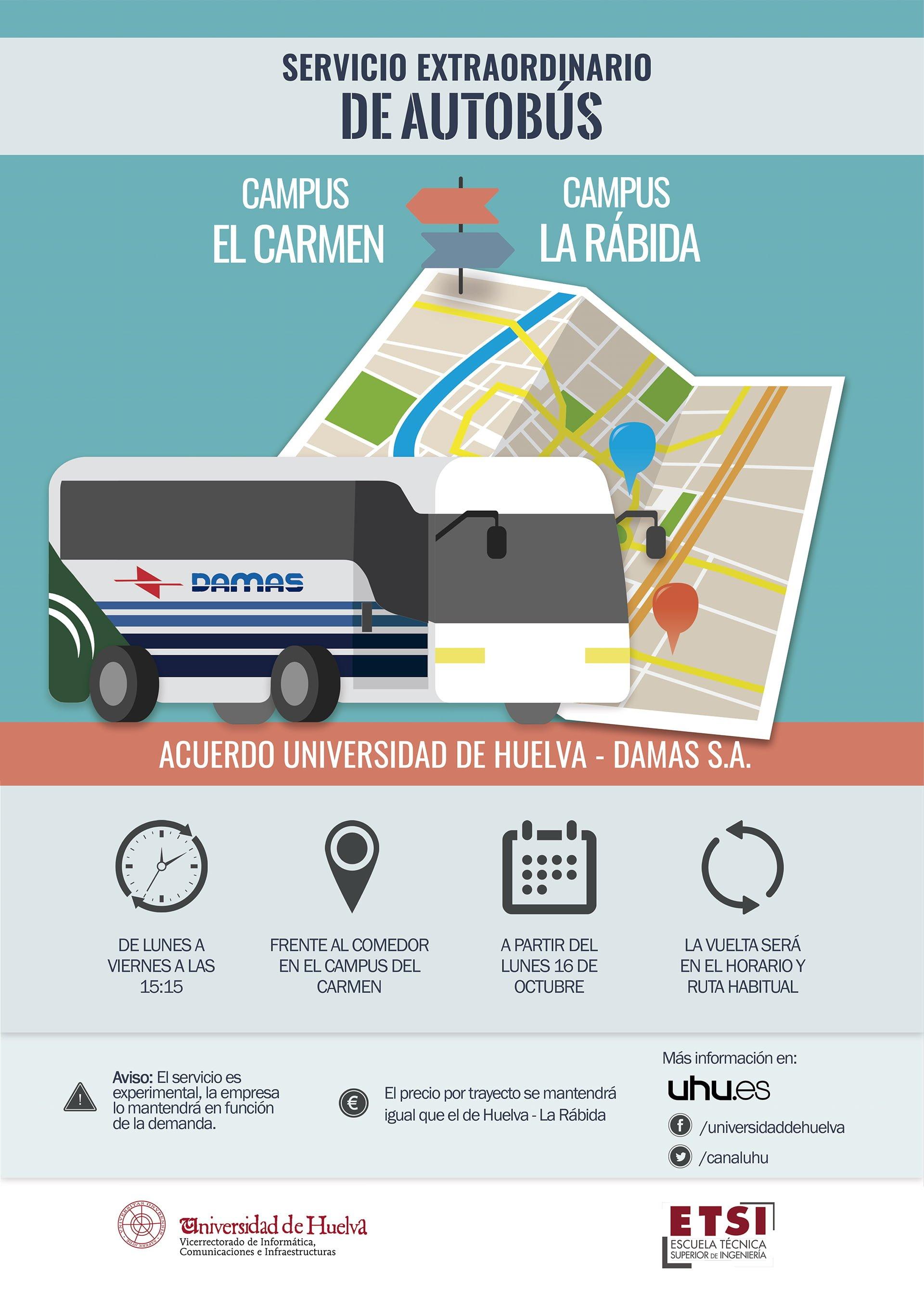 Cartel anunciador del nuevo servicio de autobuses