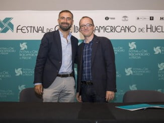 El presidente del Festival de Cine  junto al presidente de la Fundación Zenobia y alcalde de Moguer