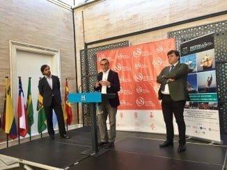 El presidente de la Diputación, el alcalde de Huelva y el presidente de la Fundación Nao Victoria