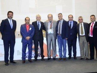 Foto de familia de los premiados en el  Salón Internacional de la Minería Metálica