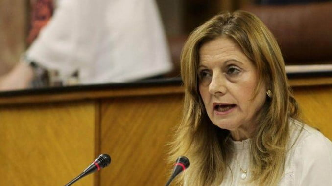 La consejera de Salud, Marina Álvarez, en el pleno del Parlamento andaluz