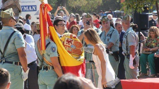 Un momento del acto de Jura de Bandera celebrado en Palos de la Frontera